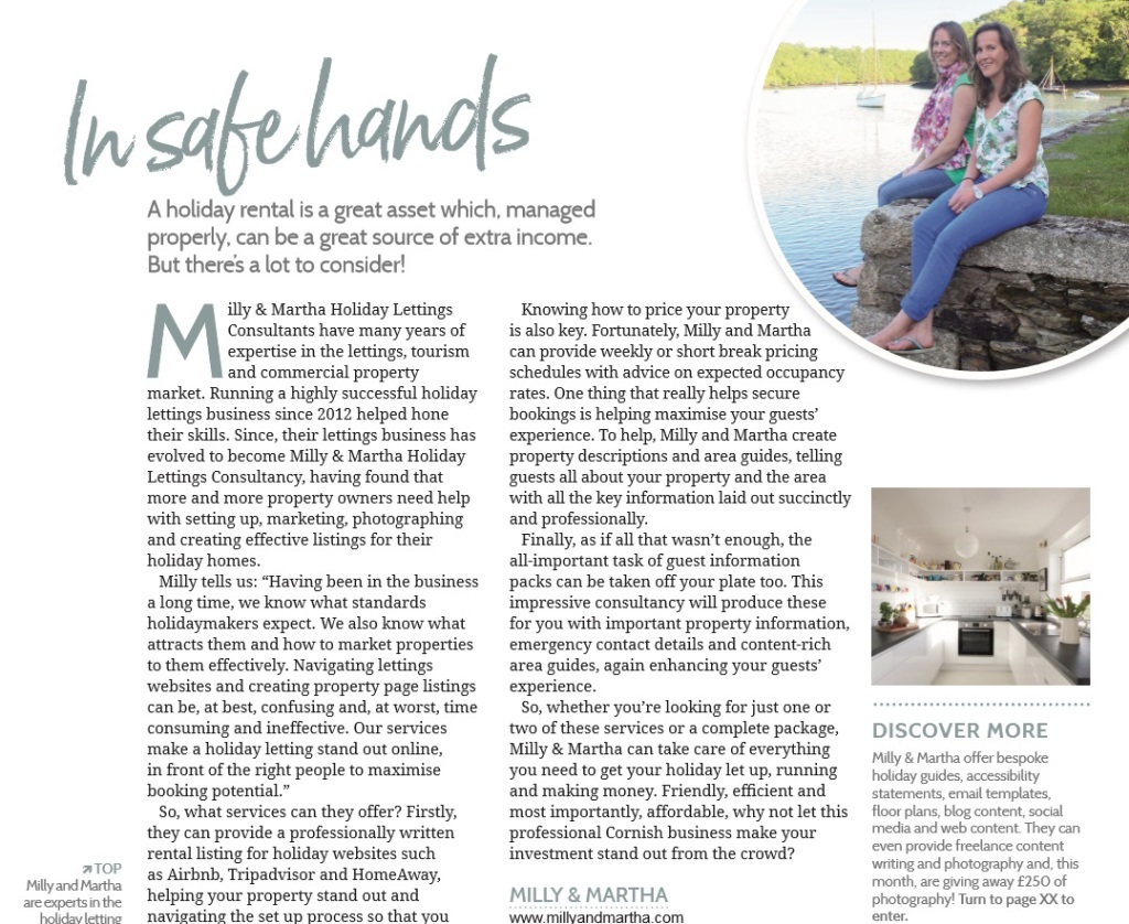 Cornwall Living Article for Milly and Martha Holiday Lettings Consultancy