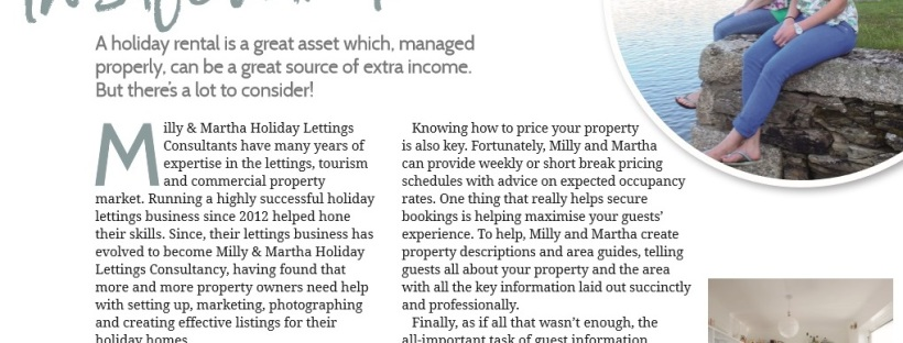 Cornwall Living Advertorial for Milly and Martha Lettings